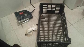 Base para drenaje con cajas de frutería